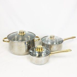 6 Pc Lot LUSTERWARE 18-10 Stainles Steel 24Kt Gold